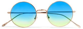 Illesteva - Porto Cervo Oversized Round-frame Gold-tone Mirrored Sunglasses - Blue $195 thestylecure.com