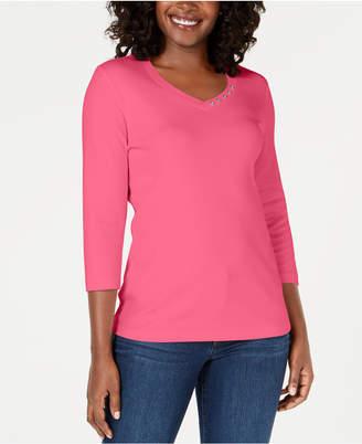 Karen Scott Cotton Button-Trim Top, Created for Macy's