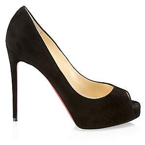 Christian Louboutin Women's New VeryPrivé Peep-Toe Suede Pumps