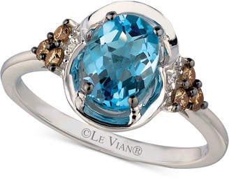 Le Vian Chocolatier® Blue TopazTM (1-1/3 ct. t.w.) and Diamond (1/5 ct. t.w.) Ring in 14k White Gold $1,048 thestylecure.com
