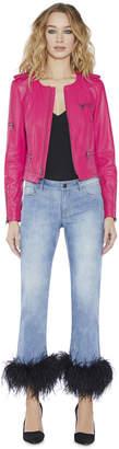 Alice + Olivia Cam Leather Exposed Zipper Biker Jacket