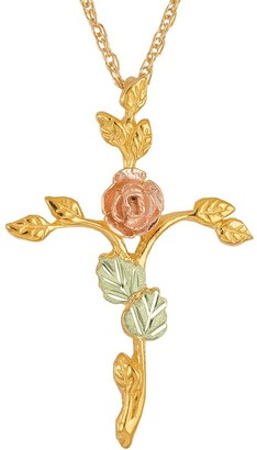 Black Hills Rose Branch Pendant w/Chain 10K/12K