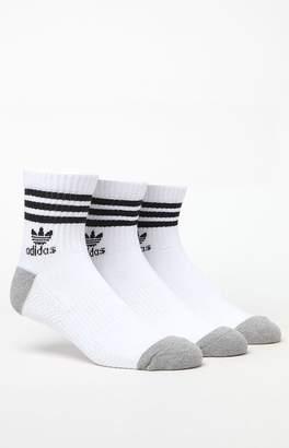 adidas Roller 3 Pack White & Black Quarter Socks