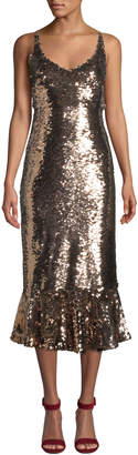 Saloni Aidan Sequined Midi Flounce Cocktail Dress