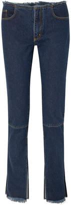 Marques Almeida Marques' Almeida - Distressed Mid-rise Slim-leg Jeans - Dark denim