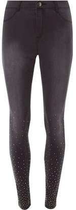 Dorothy Perkins Womens Charcoal Stud Hem 'Frankie' Super Skinny Jeans
