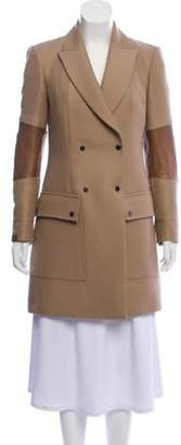 Belstaff Wool-Blend Leather-Accented Coat Brown Wool-Blend Leather-Accented Coat