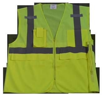 Petra Roc LVM2-SUV-S-M Safety Vest Ansi Class 2 Multi-Pocket Surveyors, Lime Mesh - Small & Medium