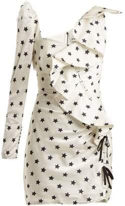 Self-Portrait Star-print ruffle-trimmed dress