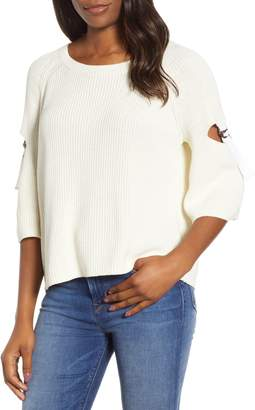 1 STATE 1.STATE Keyhole Cutout Sleeve Sweater