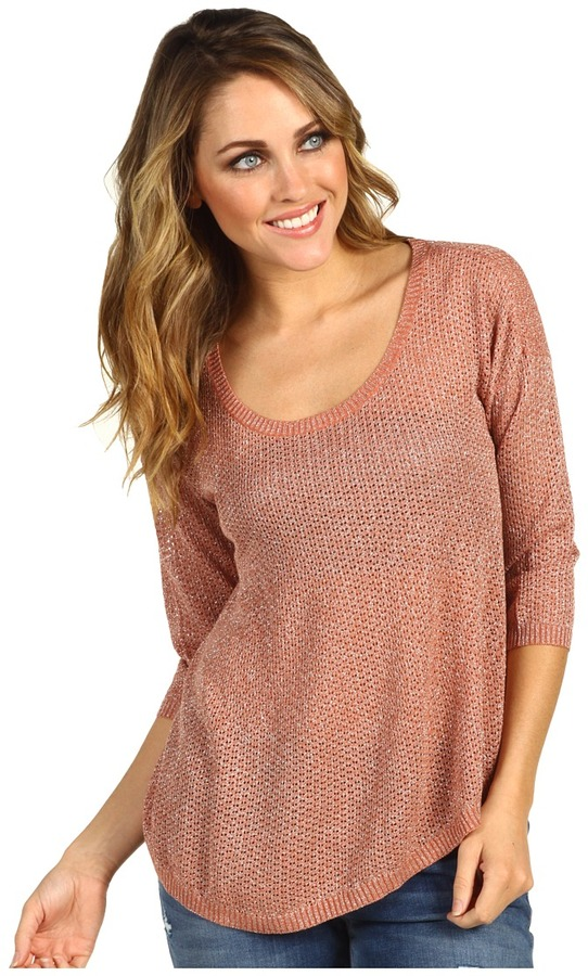 Kensie Shiny Sweater (Heather Peach Clay) - Apparel