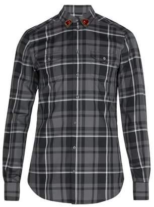Dolce & Gabbana Heart Collar Plaid Cotton Shirt - Mens - Grey