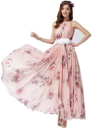 Medeshe Women's Chiffon Floral Holiday Beach Bridesmaid Maxi Dress Sundress (US Size 16-20; Length-125cm, )