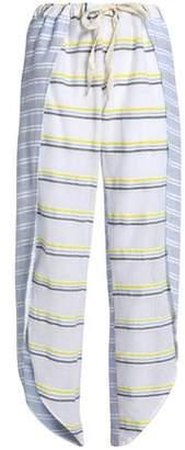Lemlem Paneled Striped Cotton-Blend Gauze Wide-Leg Pants