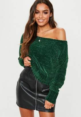 Missguided Green Chenille Off Shoulder Knit Sweater
