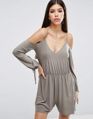 Asos Slinky Romper with Cold Shoulder and Long Sleeve