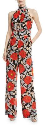 Diane von Furstenberg High-Neck Sleeveless Wide-Leg Floral-Print Silk Jumpsuit