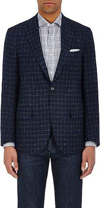 Isaia MEN'S SANITA CHECKED CASHMERE TWO-BUTTON SPORTCOAT - NAVY SIZE 40 R