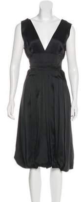 Max Mara Pleated Silk Dress Black Pleated Silk Dress