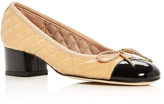 Paul Mayer Women's Titou Quilted Leather Cap Toe Block Heel Pumps