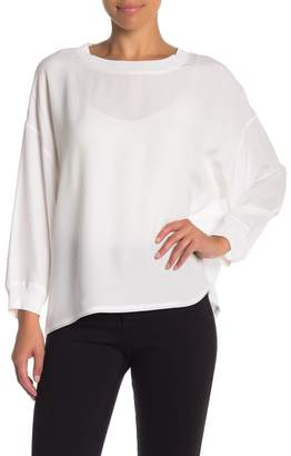 Vince Rib Trimmed Long Sleeve Blouse