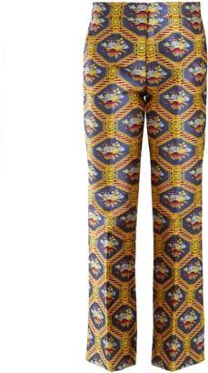 Geometric floral-jacquard flared trousers