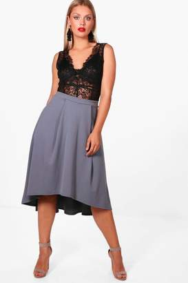 boohoo Plus Eva Scuba Dipped Hem Midi Skirt