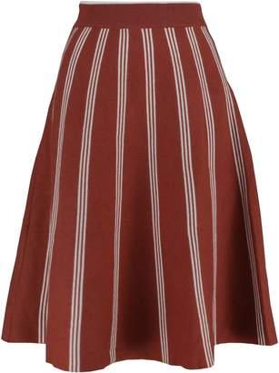 YSJ Women's Knitted Skirts A-Line Pleated Striped Midi Swing Skirt Petite (M, )