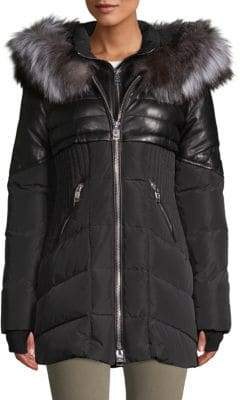 Quilted Fox Fur-Trimmed Down Parka