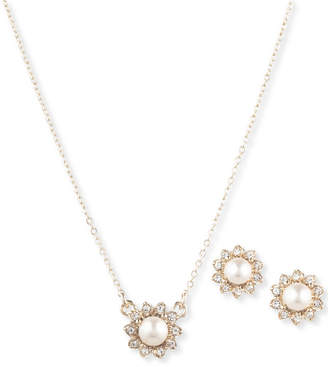 Marchesa Gold-Tone 2-Pc. Set Imitation Pearl & Crystal Pendant Necklace & Stud Earrings