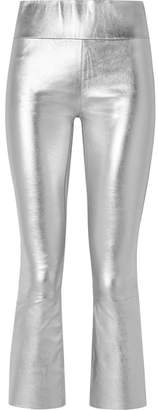Sprwmn Cropped Metallic Stretch-leather Flared Pants - Silver