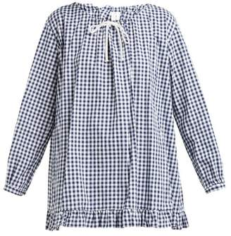 Comme des Garcons Ruffled Gingham Cotton Poplin Blouse - Womens - Navy White