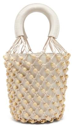 STAUD Moreau Macrame And Leather Bucket Bag - Womens - White
