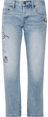 Current/Elliott - The Crossover Embroidered Mid-rise Straight-leg Jeans - Mid denim $300 thestylecure.com