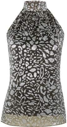 Dorothy Perkins Womens Black Leopard Print Halter Neck Top
