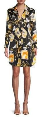 Moschino Graphic Silk Shirt Dress