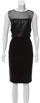 L'Agence Leather-Paneled Wool Blend Midi Dress