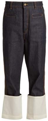 Loewe High Rise Contrast Cuff Jeans - Womens - Dark Blue