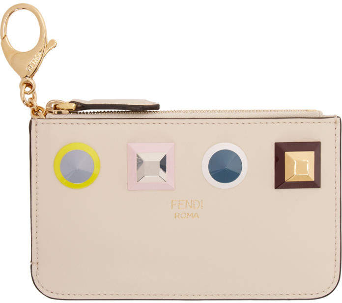 Fendi Beige Rainbow Zip Card Holder