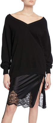 Alexander Wang Oversized Long-Sleeve Pullover with Sheer Yoke