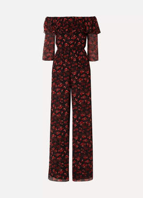 Rachel Zoe Samura Off-the-shoulder Floral-print Silk-crepon Jumpsuit - Black