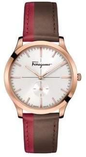 Salvatore Ferragamo Slim Stainless Steel Colourblock Leather-Strap Watch