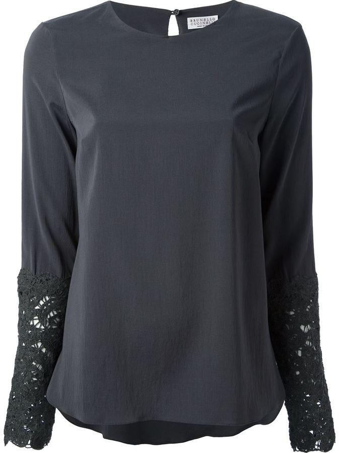 Brunello Cucinelli lace cuff blouse