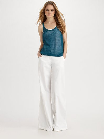 Theory Nalanie Wide-Leg Stretch Cotton Pants