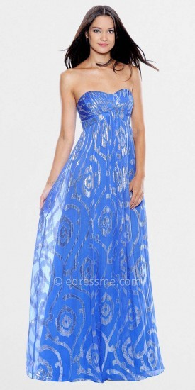 Decode 1.8 Classic Elegant Strapless Blue Silk Lurex Prom Dresses