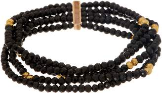 Faceted Opaque Gemstone & Golden Pyrite Stretch Bracelet