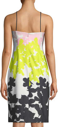 Milly Floral-Stripe Strapless Sheath Dress