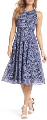 Eliza J Stripe Lace A-Line Dress (Regular & Petite)