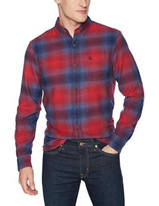 Original Penguin Men's Long Sleeve Plaid Flannel Button Down Shirt