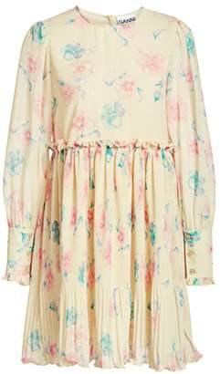 Ganni Pleated Floral Georgette Babydoll Dress